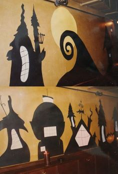 tim burton halloween decorations - similar window cutouts would be cool.