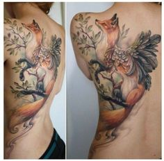 Fox tattoo, with wings...I don't get it but it's nice work.