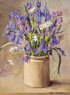 Bluebells in a pot by Anne Cotterill. Bluebells!! That wonderful blue haze of a host of bluebells! It's over 50 years since I've seen some.