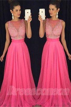Hot Pink Long Chiffon Prom Dresses ecaffb26dbc6