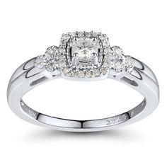 10k White Gold Diamond Engagement Ring (1/4 cttw, I-J Color, I2-I3 Clarity) $370.00