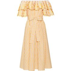 Gül Hürgel Off-the-shoulder ruffled cotton and linen-blend dress (€745) ❤ liked on Polyvore featuring dresses, gul hurgel, off shoulder floral dress, floral print dress, striped floral dress, embroidery dresses and embroidered dress