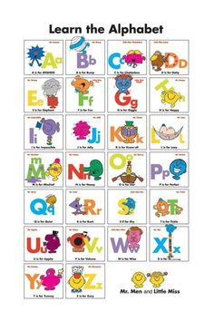 Mr Men & Little Miss Poster - Learning the Alphabet Mr Men Little Miss, Little Red Hen, World Book Day Costumes, Literacy And Numeracy, Monsieur Madame, Little Miss Sunshine, Ted, Man Party, Learning The Alphabet