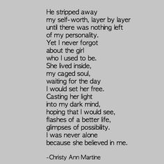 The Girl Who I Used to Be poem - Christy Ann Martine - Domestic Violence - Abuse - Survivor - Self-esteem - Emotional Abuse