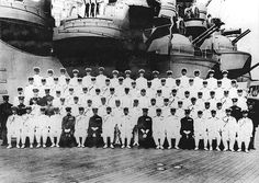 Emperor Showa (Hirohito; front center) and Nagano (front, 6th from Left) aboard the Musashi, 24 Jun 1943 - Pin it by GUSTAVO BUESO-JACQUIER