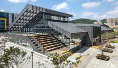Auditorium Architecture, Urban Architecture, Commercial Architecture, Concept Architecture, School Architecture, Amazing Architecture, Building Facade, Building Design, Roof Design