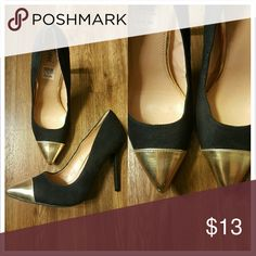 Fioni gold toe heels Small amount of wear  Fioni heels  Gold tops Black sued 3 inch heel  Size 9 Fioni Shoes