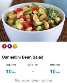 Cannellini Bean Salad: 2tbsp olive oil, 1tbsp red wine vinegar & red minced onion, 3/4tsp oregano, 2 med diced cucumber, 1 med diced red bell pepper, 1 can cannellini beans, salt & pepper. Whisk together oil, vinegar, onion & oregano in lg mixing bowl. Add cucumbers, beans & bell pepper; toss to combine. Season w/salt & pepper. Serv size = 1 c. 180cal, 22g carbs, 5g fiber.
