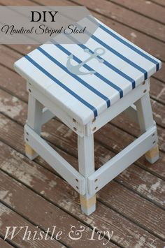 Turn a plain wooden stool into this nautical themed piece with a little paint and twine!