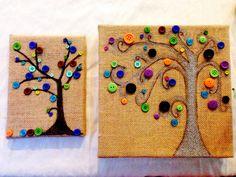 Button Trees on Burlap Canvas.   Sharpie paint pens, gorilla glue and buttons!