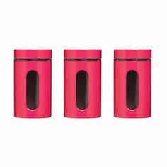 Orange Enamel Finish Tea Coffee Sugar Jar Canisters Multi Purpose Storage Jars Set With Glass Window