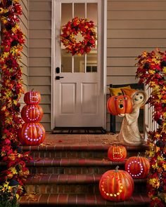 These pumpkins and their color-changing lights create a bright and festive welcome on your porch, patio, or pathways - perfect for a little spooky feel. Halloween Pumpkins, Halloween Decorations, Pumpkin Decorating, Decorating Ideas, Balsam Hill, Color Changing Lights, Halloween Season, Autumn Home, Pathways