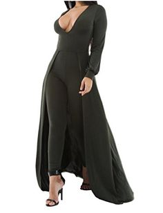 eb729ee313ac Amazon.com  JcXxe Women s Deep V Neck Bodycon Jumpsuit with Dress Veil   Clothing. Bodycon JumpsuitPlaysuitRompers WomenJumpsuits ...