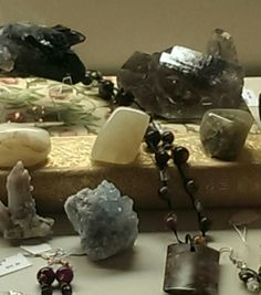 Healing crystals and crystal/stone jewelry at Hoopla Emporium.