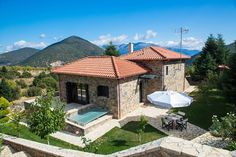 Entire home/flat in Kardaras, Mainalo, Greece. Villa Mainalis is a stylish stone house in an idyllic setting at the slopes of Mainalon Mountain, just away from Athens and less than fro. Summer Winter, Season 1, Athens, Villas, Ski, Greece, Vacation, Mansions, House Styles