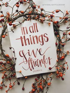 In all things give thanks | 1 Thessalonians 5:15 | Verse Scripture Quote Typography | Thanksgiving | Home Decor | Watercolor | Modern Calligraphy ||  This Delightful Design by Katie Clark | katieclarkk.com