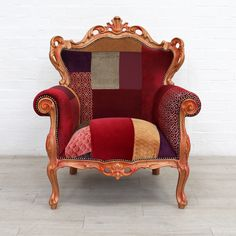French Louis Style Armchair in Opulent Reds & Oranges Purple Furniture, Shop Up, Orange And Purple, Upcycled Furniture, Household Items, Charity, Armchair, French, Room