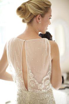 Beautiful open back wedding dress by Dennis Basso, photo by Sarah DiCicco | bia junebugweddings.com