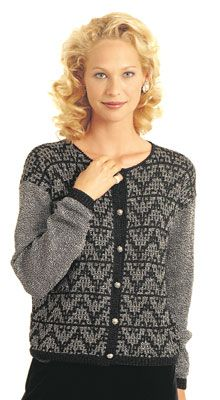 In Metallic FX. Create the look of fine beading with our lovely moasic stitch cardigan in two colors of Metallic FX.
