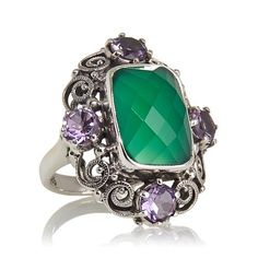 Nicky Butler 7.85ct Green Chalcedony and Amethyst Ring