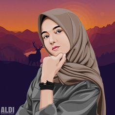 Repost Style baru, warna baru In fram Portrait Illustration, Manga Illustration, Caricature, Cover Wattpad, Hijab Drawing, Islamic Cartoon, Line Art Vector, Anime Muslim, Hijab Cartoon