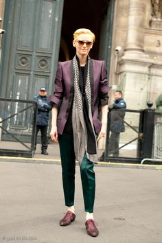 Tilda Swinton at Haider Ackermann, Luxe layers and Ackermann's exquisite oxfords