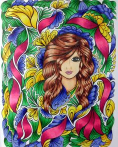 This page is from the Creative Haven book called Fanciful Faces. #colorartforeveryone