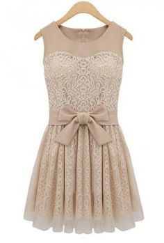 Grand Plié Damask Lace Bow Dress in Beige  #bow #lace #ivory