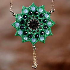 30% off sale- Pyrite amethyst Mandala charm - Mandala pendent - 24 stones mandala charm - goldfilled rolo chain - tribal pendant