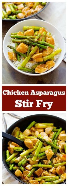 Chicken Asparagus Stir Fry is a simple yet very delicious choice for weeknight dinners. All the flavor is in the special sauce made from basic ingredients! Best Chicken Recipes, Turkey Recipes, Asian Recipes, Dinner Recipes, Healthy Recipes, Chicken Ideas, Healthy Chicken, Delicious Recipes, Tasty