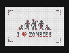I heart Zombies PDF cross stitch pattern. $4.00, via Etsy.