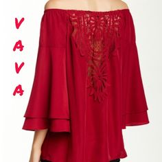 """Gorgeous """" Georgina Off-The-Shoulder """" Blouse  Va Va by Joy Han ! This is one of my favorites ! Called """" Georgina Off-The-Shoulder Blouse ! Color is Wine ! Long 3/4 length sleeves with layered cuffs ! Back is crocheted with cut-out detail ! This part is beautiful ! Rounded hem ! 100% polyester ! Lined except for back crocheted part !  Va Va by Joy Han Tops"""
