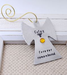 Personalized Angel Christmas Ornament, Remembrance Hand Stamped Christmas Keepsake, Memorial Personalized Xmas Ornament, Gift for Mom sweepsentry