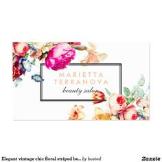 Vintage Floral Striped Salon Business Card  Vintage Floral
