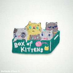 Box of Kittens Iron On Patch by BelsArt on Etsy