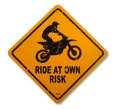 Ride At Your Own Risk Motocross Bedding Sign