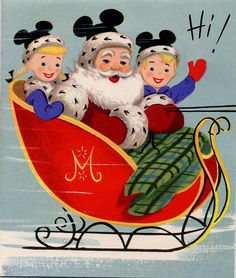 Vintage Disney Christmas card with Santa wearing Mickey Mouse ears Christmas Style, Merry Christmas, Disney Christmas, Disney Holidays, Christmas Mantles, Christmas Christmas, Christmas Ornaments, Vintage Christmas Images, Vintage Holiday