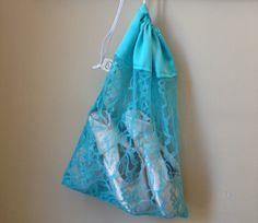 Dance Bag  Ballet/Pointe Shoe Bag  Blue Lace by DancingDuoDesigns, $16.00