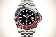 "Baselworld Rolex Introduces the GMT-Master II ""Pepsi"" in Stainless Steel Watches Rolex, Army Watches, Luxury Watches, Watches For Men, Rolex Submariner Green, Rolex Datejust, Rolex Presidential, Monochrome Watches, Rolex Explorer"