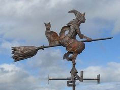 Wind Witch: #Wind #Witch ~ Witch and Cat Weather Vane.