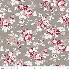 Rustic Romance Main Gray Fabric - Penny Rose Fabrics/Riley Blake Designs Gray - Red and Gray Floral Fabric - By the Yard Grey Fabric, Floral Fabric, Floral Prints, Love Sewing, Sewing Box, Sewing Tips, Sewing Ideas, Doll Making Tutorials, Red And Pink Roses