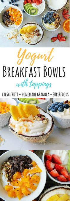 Healthy Greek Yogurt Breakfast Bowls. Full of protein, healthy carbs, and superfoods to give you energy all day long. A yogurt bar is perfect for entertaining. Includes a list of popular yogurt toppings and combinations.