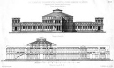 Elevation and section of a projected Olympion, Athens