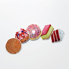 Add some flair to your stuff with these delicious Pastry Stickers! These yummy pastry stickers will make you crave some delicious sweets such as cake, pie and doughnuts! You can put them anywhere you want to add some cute details to your items. Diy Trend, Stationery, Stickers, Sweet, Accessories, Paper Mill, Baby Favors, Wood Carvings, Creative