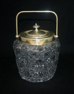 Victorian EAPG Glass Button & Cane Biscuit Barrel Jar Silverplate Top & Handle  100.00