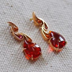 Fire Opal earrings handmade by Ricardo Basta Fine Jewelry | fire earrings, handmade earrings