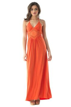 Coral maxi dress, super hot for Spring!