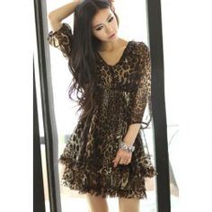 $11.35 Alluring V-Neck Printing High Waist Half Sleeve Slimming Chiffon Dress For Women