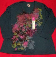 Womens Plus JMS Just My Size Teal Blue Floral Glitter Print Top NWT 2X 18W/20W #justmysize #plussize #glitter