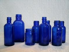 Lot Of Vintage Cobalt Blue Bottles antique by Sheekydoodle on Etsy